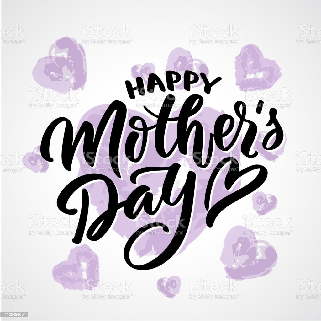 Happy mother day text calligraphy. Graphic print, hand-writing,...