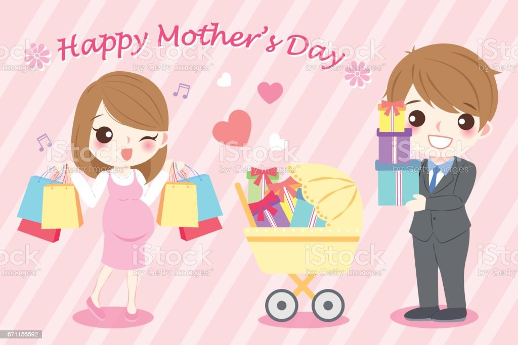 happy mother day vector art illustration