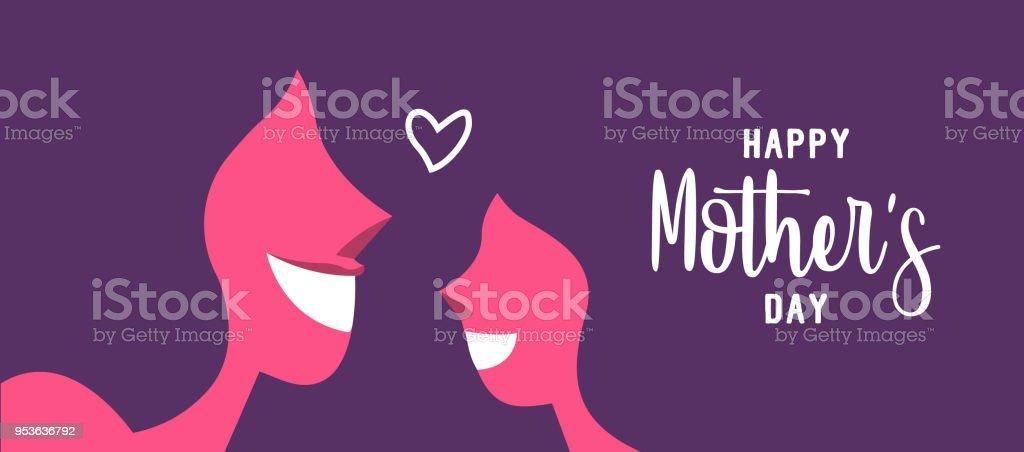 Glückliche Mutter Tag Web-Banner für die Tochter Liebe – Vektorgrafik