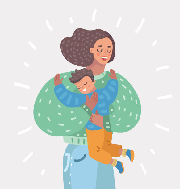 ilustraciones, imágenes clip art, dibujos animados e iconos de stock de feliz madre hijo de sostener en sus manos. maternidad - hijo