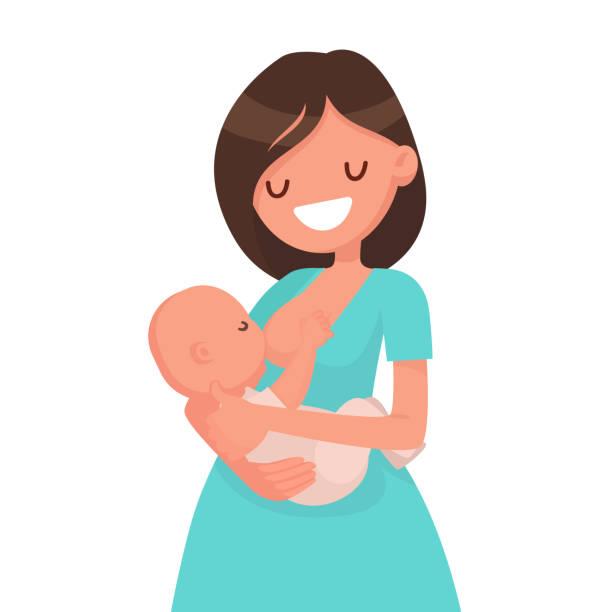 ilustrações de stock, clip art, desenhos animados e ícones de happy mother is breastfeeding a baby. vector illustration - amamentação