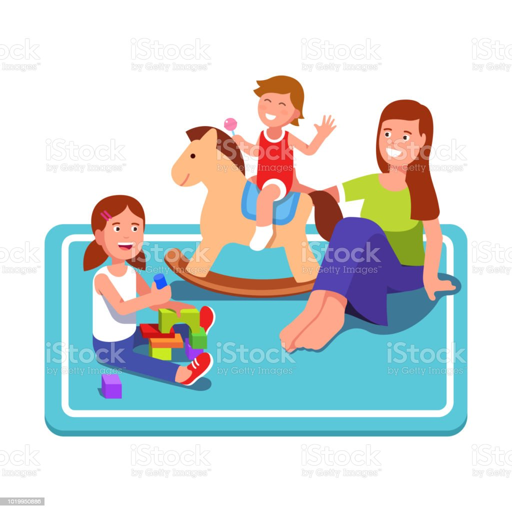 Happy mother play with boy riding on wooden horse & sitting girl playing with cubes on carpet. Flat isolated vector vector art illustration