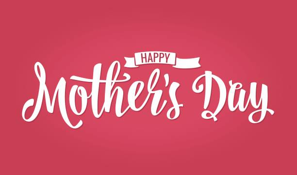 ilustraciones, imágenes clip art, dibujos animados e iconos de stock de feliz madre día de s letras. ilustración vintage vector. fondo rosa aislado - día de la madre