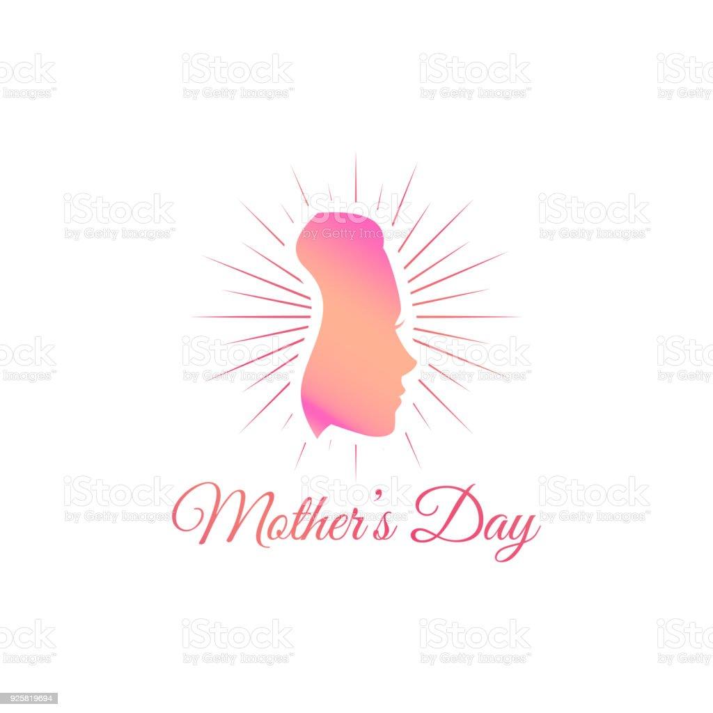 Glückliche Mutter S Tag Silhouette Einer Mutter In Rosa Farbe Vektor ...