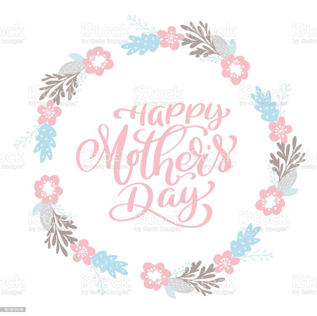 Glückliche Mutter S Tag Text Kranz Mit Blumen Tag Symbol Text Karte ...