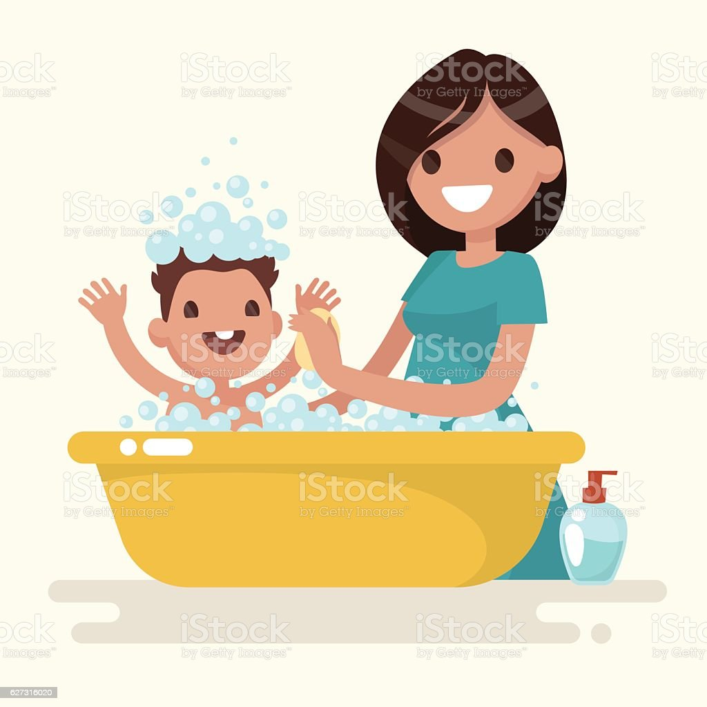 Happy mother washes her baby. Vector illustration vector art illustration