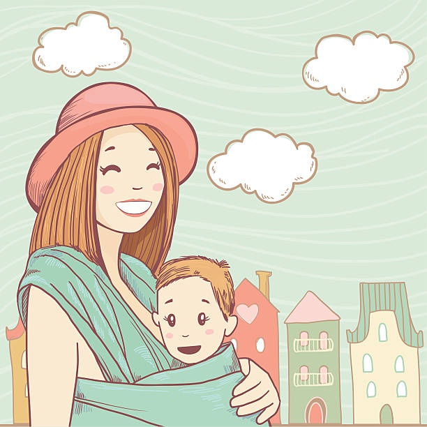 Happy mother with baby in sling vector art illustration
