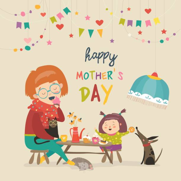 Happy mother with her daughter Beautiful women with her daughter. Happy mothers day card. Vector illustration decorating a cake stock illustrations