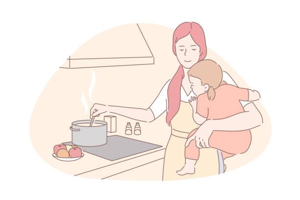 ilustrações de stock, clip art, desenhos animados e ícones de happy motherhood, babysitting, housework concept - cooker happy