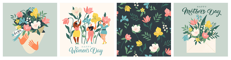 Happy Mother's Day and March 8! Cute cards and posters for the spring holiday. Vector illustration of a date, a women and a bouquet of flowers!