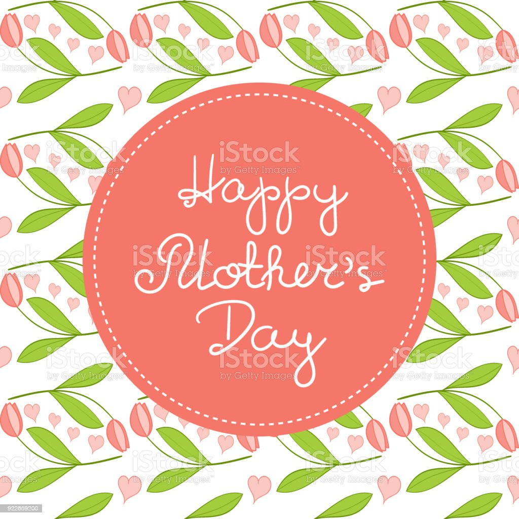 Happy Mothers Day Background Vector Spring Tulip Flowers Pattern