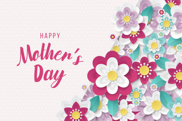 Happy Mothers Day background with beautiful paper cut flowers Happy Mothers Day background with beautiful paper cut flowers . Vector illustration mothers day stock illustrations