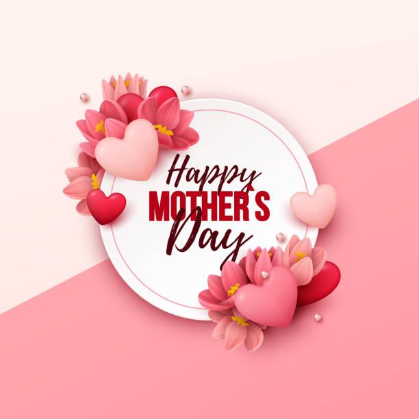 Fundo de dia das mães feliz com flores e corações - ilustração de arte em vetor