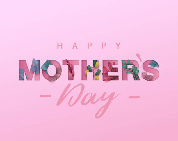 happy mothers day background with flowers. cut out paper letters - mothers day stock illustrations