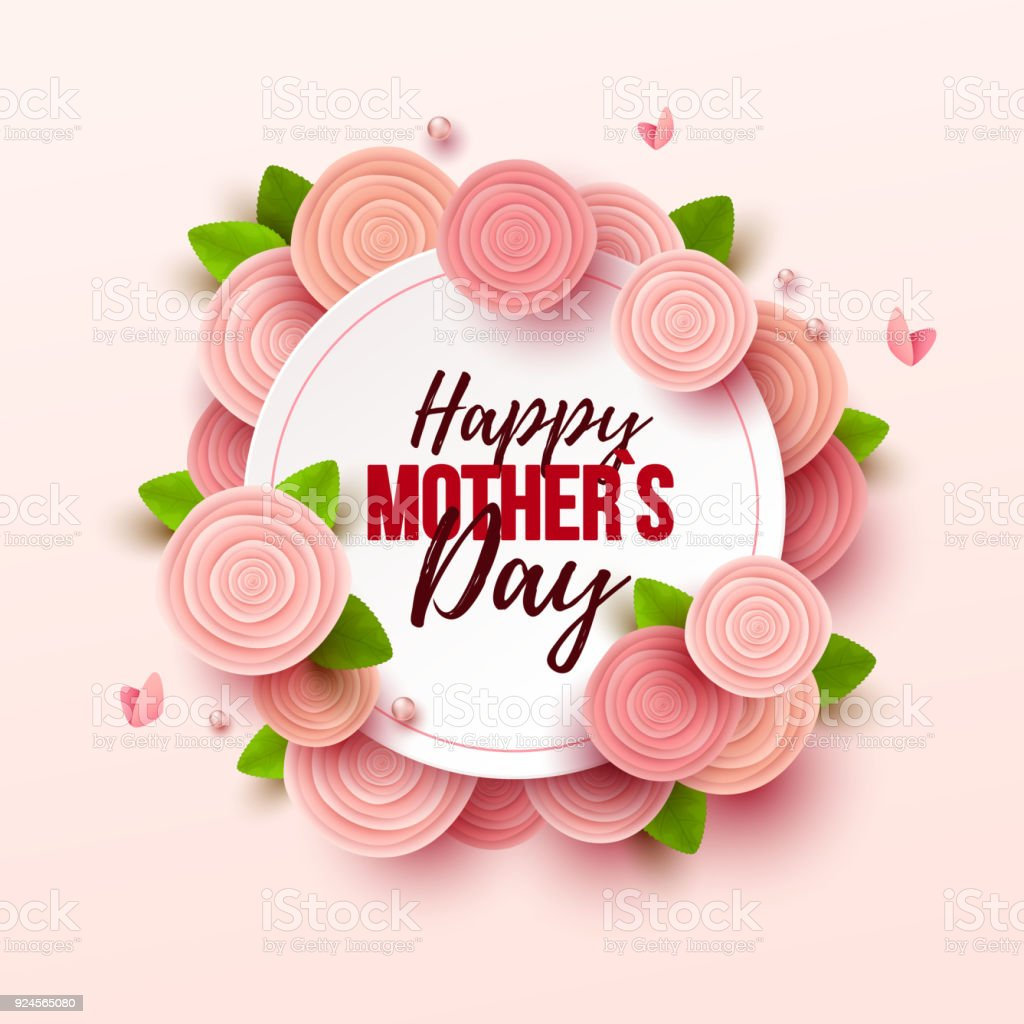 Happy Mothers Day background with flowers vector art illustration