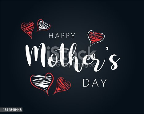 istock Happy Mother's Day background with hand drawn hearts. Vector 1314848448