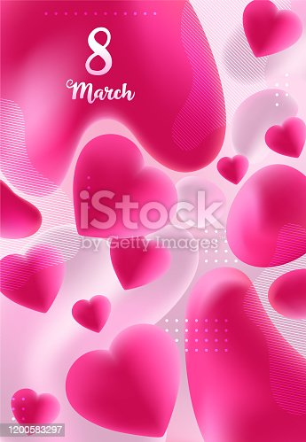 istock Happy Mother's day background with liquid red 3d hearts made from gradient and fluids, love background with hearts shapes and flowing mass, 8 March card 1200583297