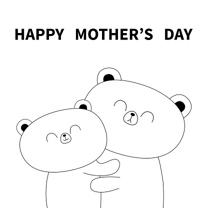Happy Mothers day. Bear holding baby. Hugging family. Hug, embrace, cuddle. Cute funny cartoon character. Greeting card. White contour grizzly. Baby pet background. Flat design.