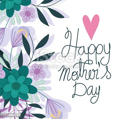 happy mothers day, blossom flowers love heart romantic card vector illustration