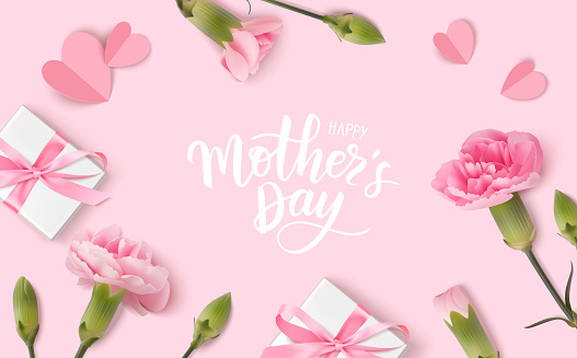 Happy Mothers day. Calligraphic greeting text. Holiday design template with realistic pink carnation flowers, gift boxes and paper hearts on pink background.