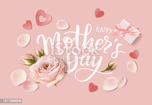 istock Happy Mothers day. Calligraphic greeting text. Holiday design template with realistic rose flower, bud,petal and gift box on pink background. 1311566509