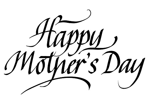 Happy Mother's Day Calligraphic Inscription. Calligraphic Lettering Design Template. Creative Typography for Greeting Card, Gift Poster, Banner etc.