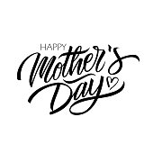 Happy Mother's Day calligraphic lettering design celebrate card template. Creative typography for holiday greetings and invitations.