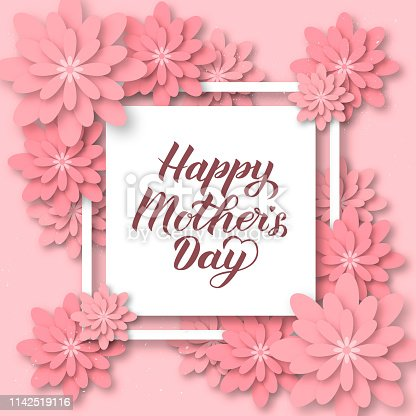 istock Happy Mother's Day calligraphy lettering with colorful spring flowers. Origami paper cut style vector illustration. Template for Mothers day party invitations, greeting cards, tags, flyers, posters. 1142519116