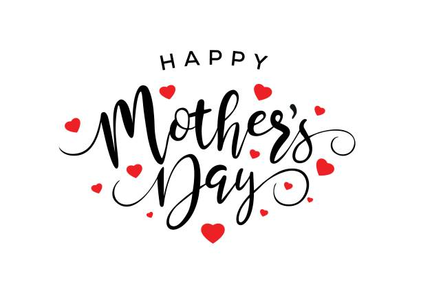 ilustraciones, imágenes clip art, dibujos animados e iconos de stock de caligrafía de día de madres feliz - día de la madre