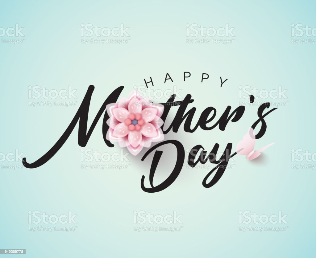 Happy mothers day calligraphy with flower stock vector art