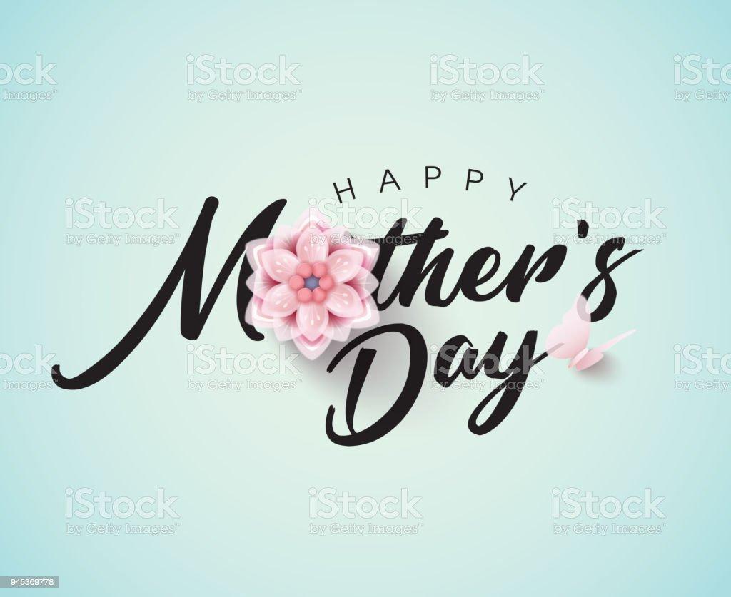 Glücklich Muttertag Kalligraphie mit Blume – Vektorgrafik