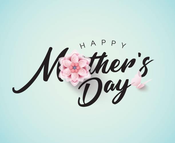 ilustraciones, imágenes clip art, dibujos animados e iconos de stock de feliz día de la madre caligrafía con flor - día de la madre