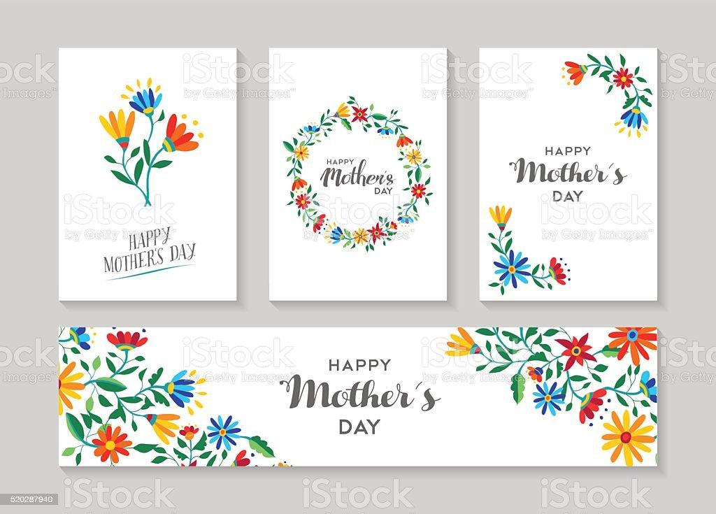 Feliz día de la madre y etiquetas conjunto florales de tarjetas - ilustración de arte vectorial
