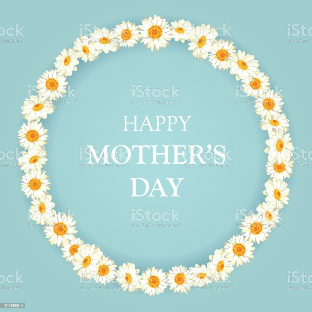 Happy mothers day card. Chamomile pattern on vintage blue background vector art illustration