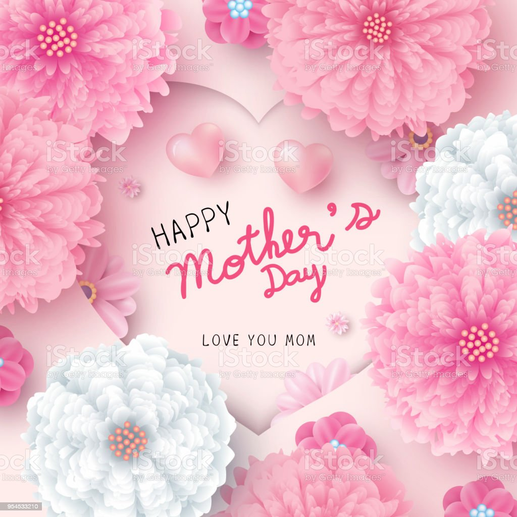 Happy mothers day card concept design of paper hearts shape and pink happy mothers day card concept design of paper hearts shape and pink flowers vector illustration royalty mightylinksfo