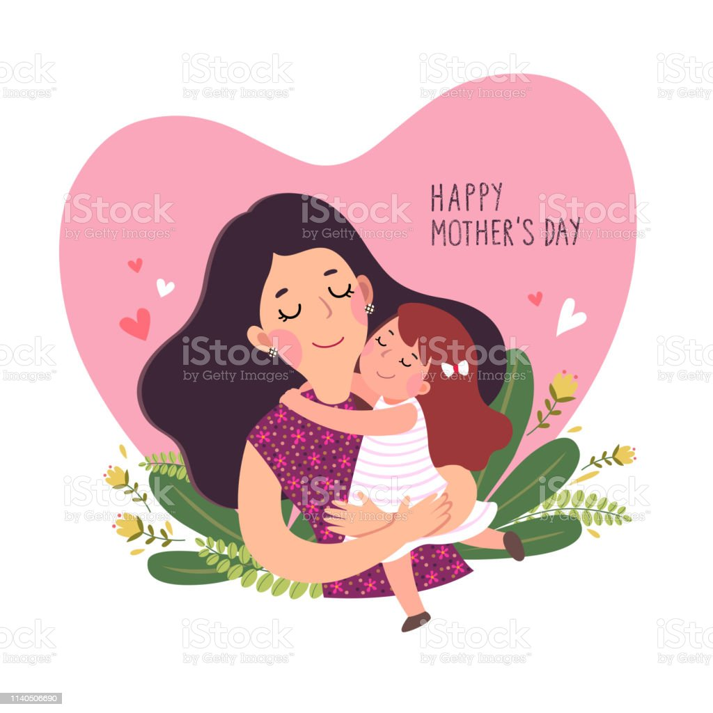 Happy mother's day card. Cute little girl hugging her mother in heart shaped. Happy mother's day card. Cute little girl hugging her mother in heart shaped. Adult stock vector