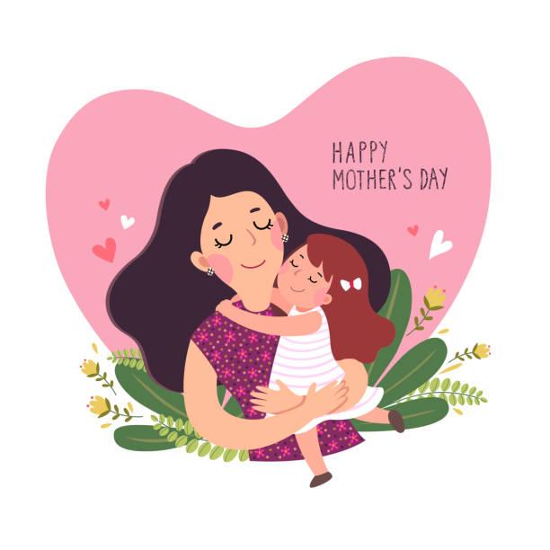 ilustraciones, imágenes clip art, dibujos animados e iconos de stock de feliz tarjeta de motherâs días. linda niñita abrazando a su madre en forma de corazón. - hija