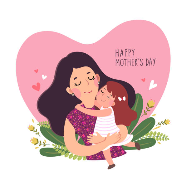 happy mother's day card. cute little girl hugging her mother in heart shaped. - single mother stock illustrations