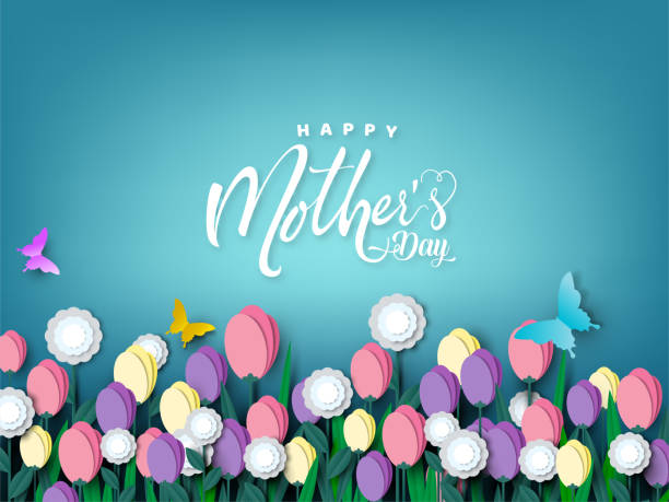Happy Mother's day card, flower paper cut with butterfly on blue background, vector illustration. Happy Mother's day card, flower paper cut with butterfly on blue background, vector illustration. mothers day stock illustrations