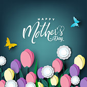 Happy Mother's day card, flower paper cut with butterfly on green background, vector illustration.