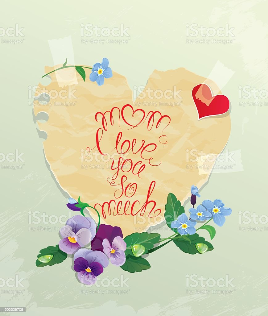 Happy Mothers Day Card Mom I Love You So Much Stock Vector Art