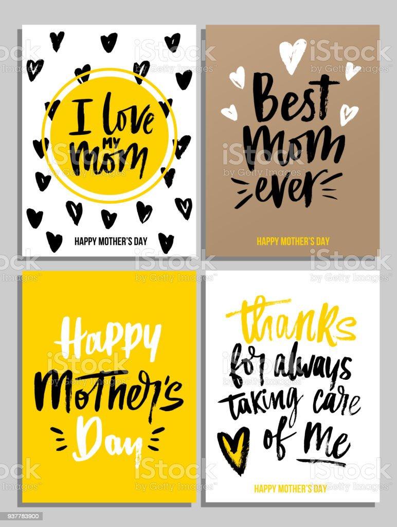 Happy Mothers Day Card Set In Trendy Colors With Lettering I Love My Mom  Best Mom Ever Happy Mothers Day Thanks For Always Taking Care Of Me Stock