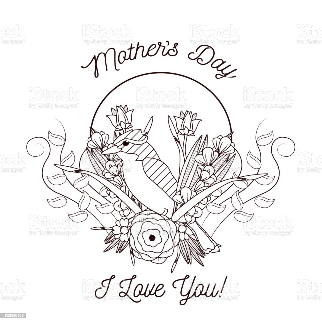 Happy Mothers Day Card With Beautiful Bird And Flowers Stock Vector