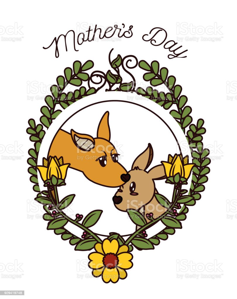 Ilustración de Tarjeta Del Día De Las Madres Felices Con Animales ...