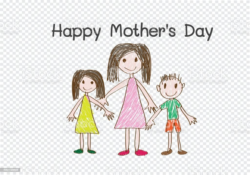 Happy mothers day card with family cartoons in  illustration vector art illustration