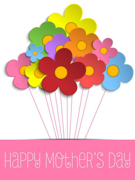 glückliche mütter tag karte mit blumen - elternhochzeitsgeschenke stock-grafiken, -clipart, -cartoons und -symbole