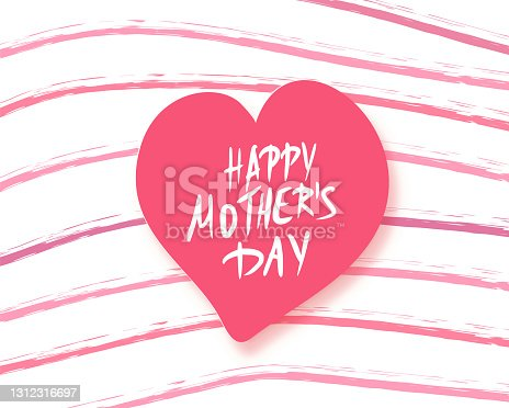 istock Happy mother's day card with hand drawn text. 1312316697
