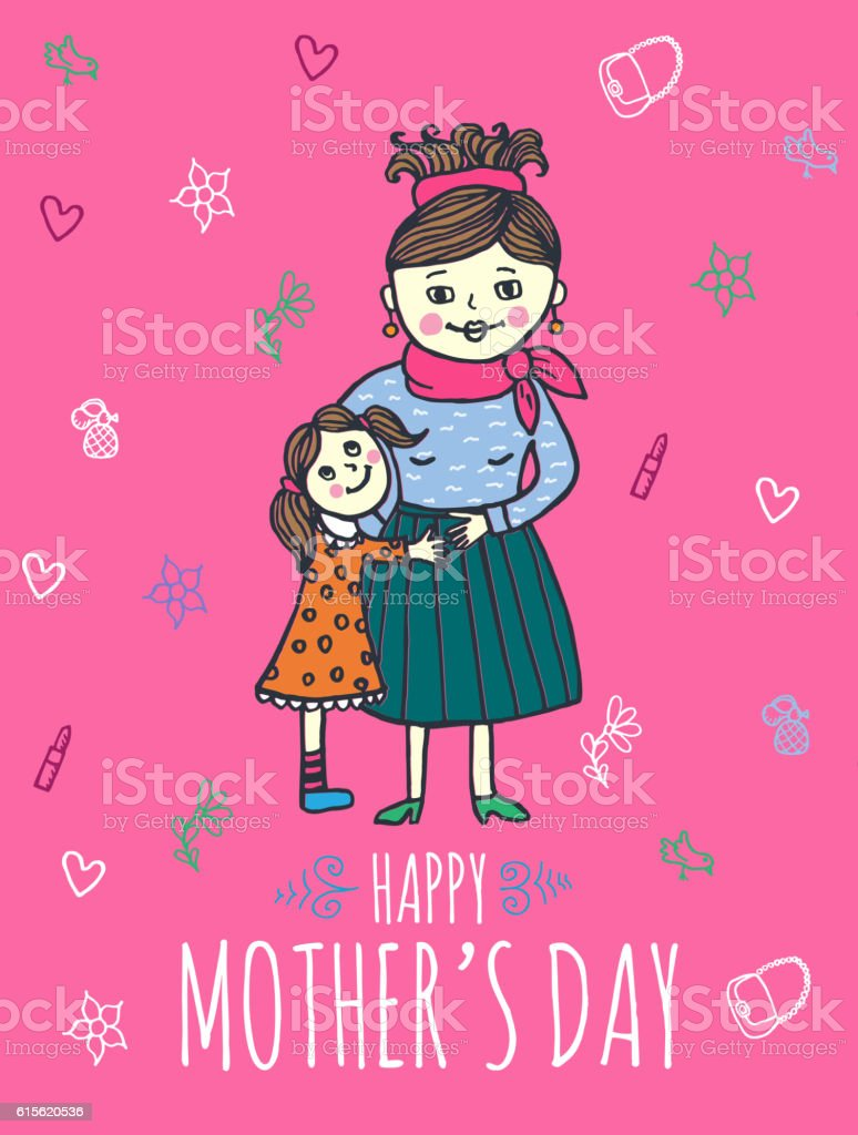 Happy mothers day card with mum and daughter stock vector art more happy mothers day card with mum and daughter royalty free happy mothers day card with m4hsunfo