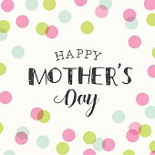 Happy mothers day card with polka dots pattern background. Editable logo vector design.