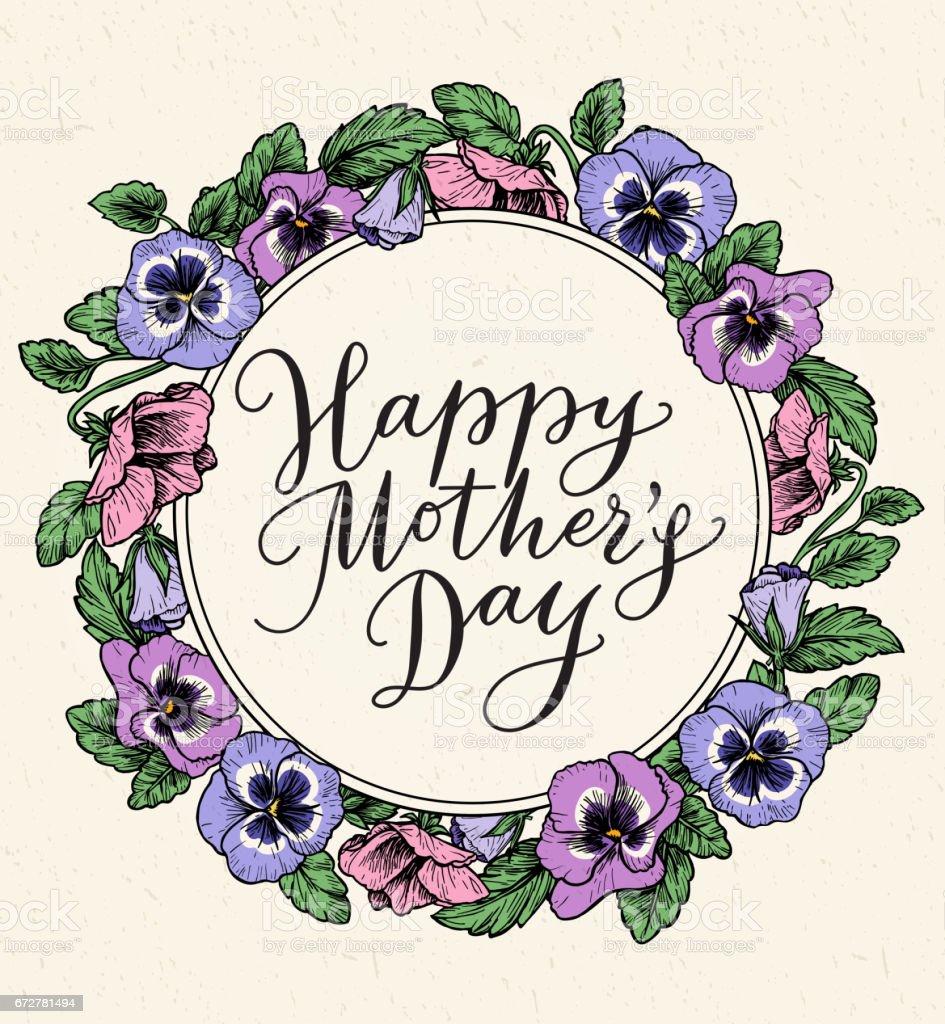 Tarjeta Del Día De Las Madres Felices Con Texto Y Marco Del Botánico ...